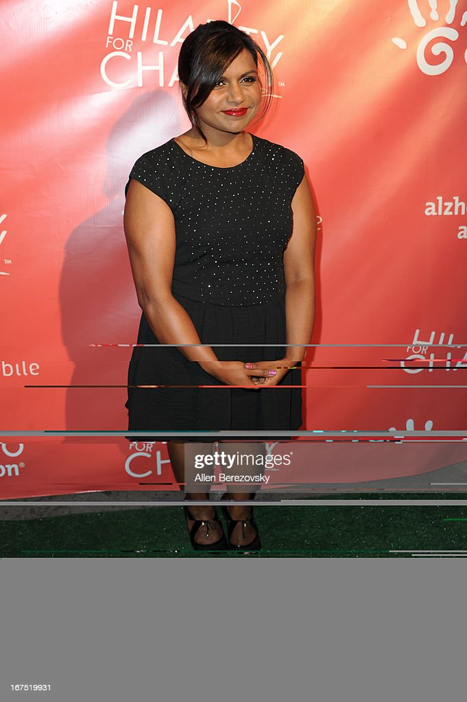 Actress <a gi-track='captionPersonalityLinkClicked' href=/galleries/search?phrase=Mindy+Kaling&family=editorial&specificpeople=743884 ng-click='$event.stopPropagation()'>Mindy Kaling</a> arrives at Hilarity For Charity fundraiser benefiting The Alzheimer's Association at Avalon on April 25, 2013 in Hollywood, California.