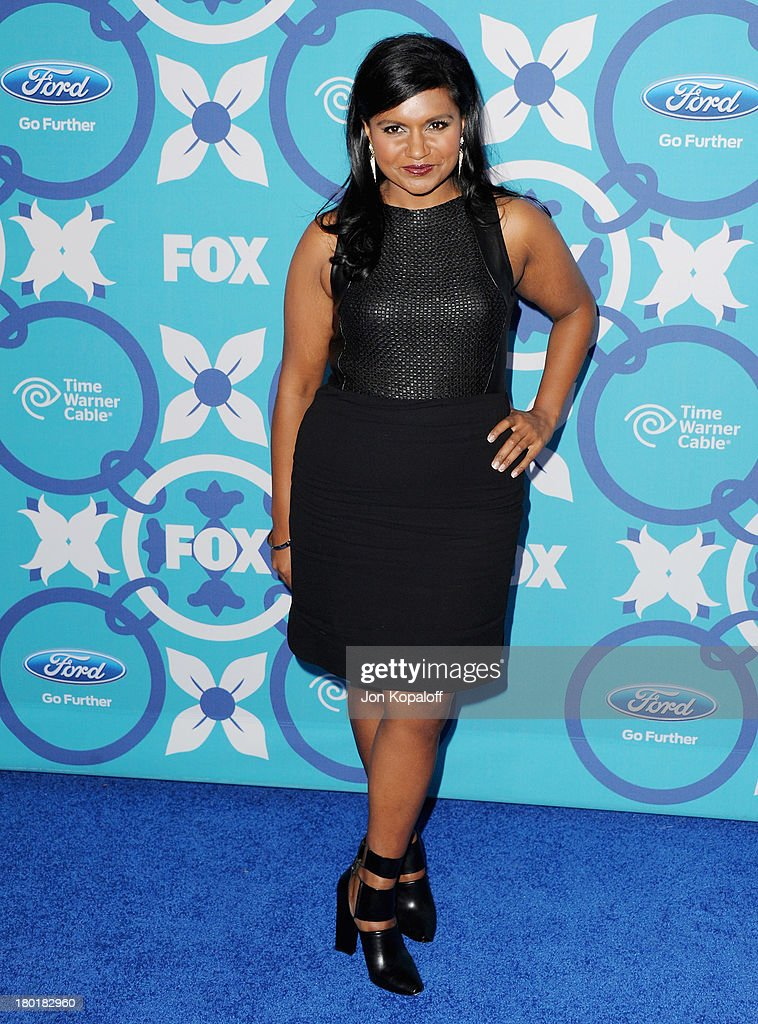 Actress <a gi-track='captionPersonalityLinkClicked' href=/galleries/search?phrase=Mindy+Kaling&family=editorial&specificpeople=743884 ng-click='$event.stopPropagation()'>Mindy Kaling</a> arrives at the 2013 Fox Fall Eco-Casino Party at The Bungalow on September 9, 2013 in Santa Monica, California.