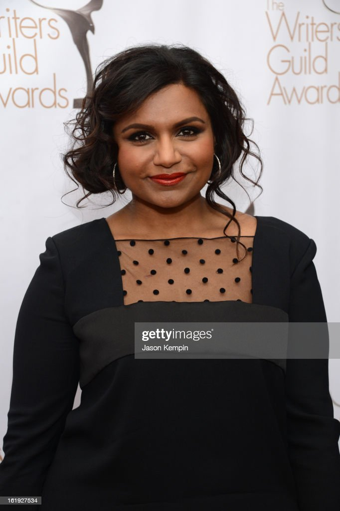 Actress <a gi-track='captionPersonalityLinkClicked' href=/galleries/search?phrase=Mindy+Kaling&family=editorial&specificpeople=743884 ng-click='$event.stopPropagation()'>Mindy Kaling</a> arrives at the 2013 WGAw Writers Guild Awards at JW Marriott Los Angeles at L.A. LIVE on February 17, 2013 in Los Angeles, California.