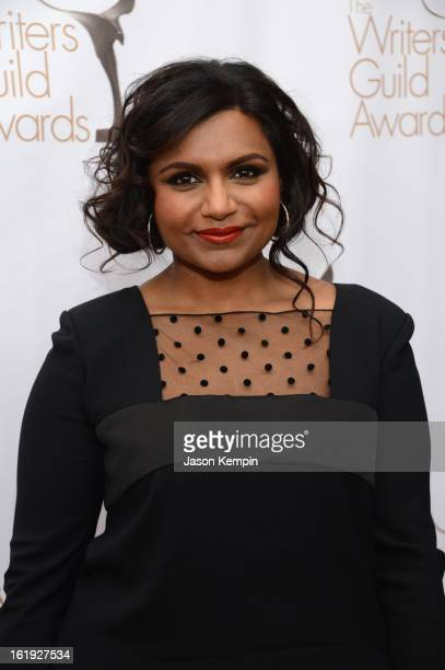 Actress Mindy Kaling arrives at the 2013 WGAw Writers Guild Awards at JW Marriott Los Angeles at LA LIVE on February 17 2013 in Los Angeles California
