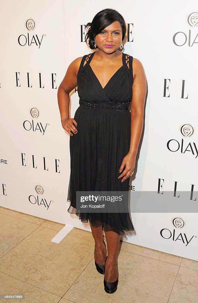 Actress <a gi-track='captionPersonalityLinkClicked' href=/galleries/search?phrase=Mindy+Kaling&family=editorial&specificpeople=743884 ng-click='$event.stopPropagation()'>Mindy Kaling</a> arrives at the ELLE Women In Television Celebration at Sunset Tower on January 22, 2014 in West Hollywood, California.