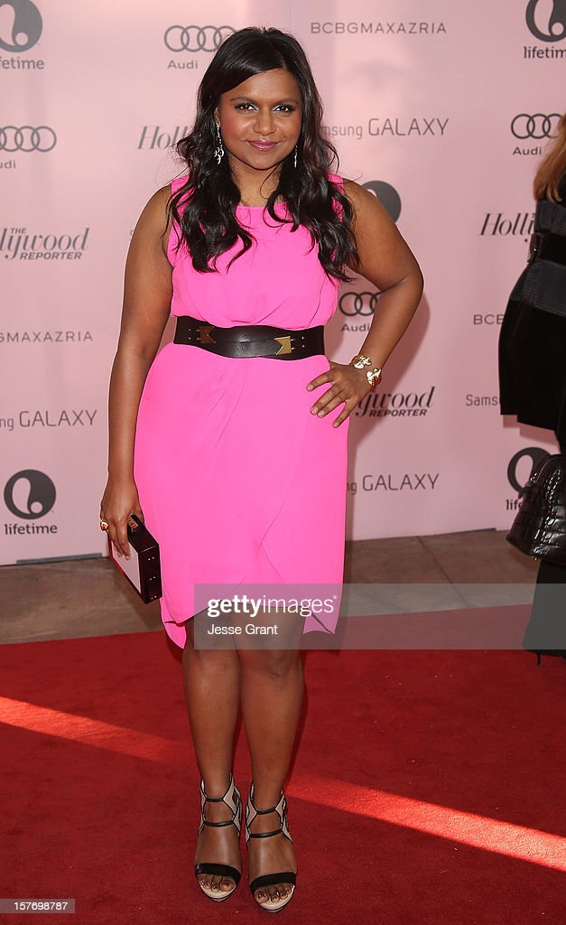 Actress <a gi-track='captionPersonalityLinkClicked' href=/galleries/search?phrase=Mindy+Kaling&family=editorial&specificpeople=743884 ng-click='$event.stopPropagation()'>Mindy Kaling</a> arrives at the Hollywood Reporter's 21st annual women in entertainment breakfast at The Beverly Hills Hotel on December 5, 2012 in Beverly Hills, California.