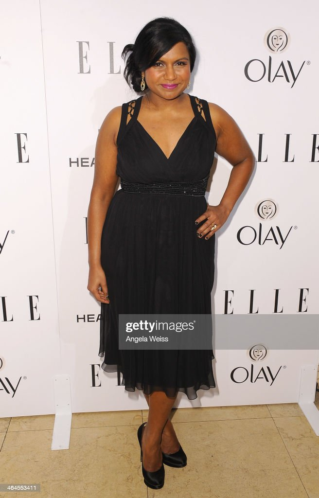 Actress <a gi-track='captionPersonalityLinkClicked' href=/galleries/search?phrase=Mindy+Kaling&family=editorial&specificpeople=743884 ng-click='$event.stopPropagation()'>Mindy Kaling</a> attends ELLE's Annual Women in Television Celebration at Sunset Tower on January 22, 2014 in West Hollywood, California.