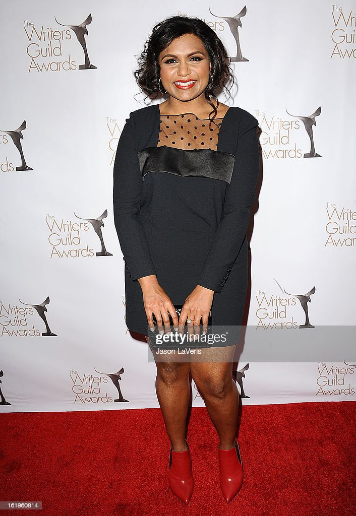 Actress <a gi-track='captionPersonalityLinkClicked' href=/galleries/search?phrase=Mindy+Kaling&family=editorial&specificpeople=743884 ng-click='$event.stopPropagation()'>Mindy Kaling</a> attends the 2013 Writers Guild Awards at JW Marriott Los Angeles at L.A. LIVE on February 17, 2013 in Los Angeles, California.