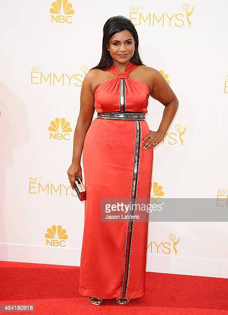 Actress Mindy Kaling attends the 66th annual Primetime Emmy Awards at Nokia Theatre LA Live on August 25 2014 in Los Angeles California