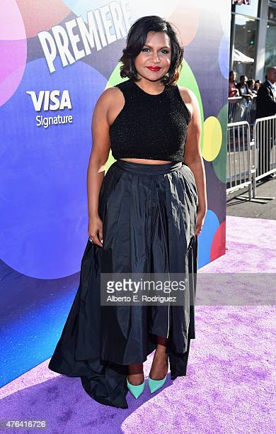 Actress Mindy Kaling attends the Los Angeles Premiere and Party for Disney•Pixar's INSIDE OUT at El Capitan Theatre on June 8 2015 in Hollywood...