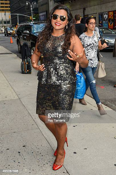 Actress Mindy Kaling enters the 'Late Show With David Letterman' taping at the Ed Sullivan Theater on September 11 2014 in New York City