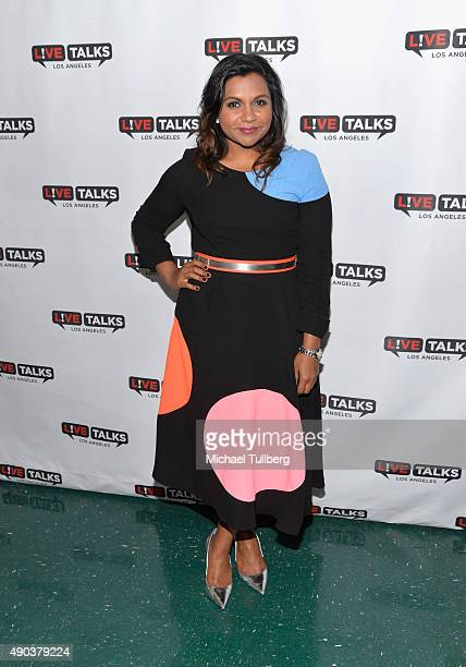 Actress Mindy Kaling poses backstage at 'An Evening With Mindy Kaling' presented by Live Talks Los Angeles at Alex Theatre on September 27 2015 in...