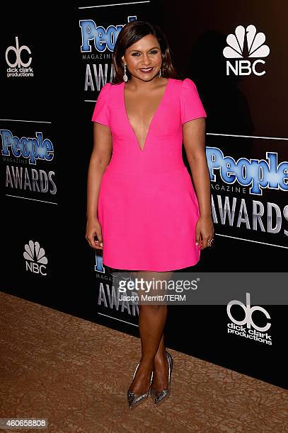 Actress Mindy Kaling poses in the press room during the PEOPLE Magazine Awards at The Beverly Hilton Hotel on December 18 2014 in Beverly Hills...
