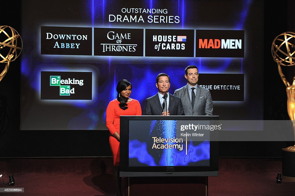 Actress <a gi-track='captionPersonalityLinkClicked' href=/galleries/search?phrase=Mindy+Kaling&family=editorial&specificpeople=743884 ng-click='$event.stopPropagation()'>Mindy Kaling</a>, Television Academy Chairman & CEO <a gi-track='captionPersonalityLinkClicked' href=/galleries/search?phrase=Bruce+Rosenblum&family=editorial&specificpeople=2162738 ng-click='$event.stopPropagation()'>Bruce Rosenblum</a> and tv personality <a gi-track='captionPersonalityLinkClicked' href=/galleries/search?phrase=Carson+Daly&family=editorial&specificpeople=202941 ng-click='$event.stopPropagation()'>Carson Daly</a> speak onstage at the 66th Primetime Emmy Awards Nominations at Leonard H. Goldenson Theatre on July 10, 2014 in North Hollywood, California.