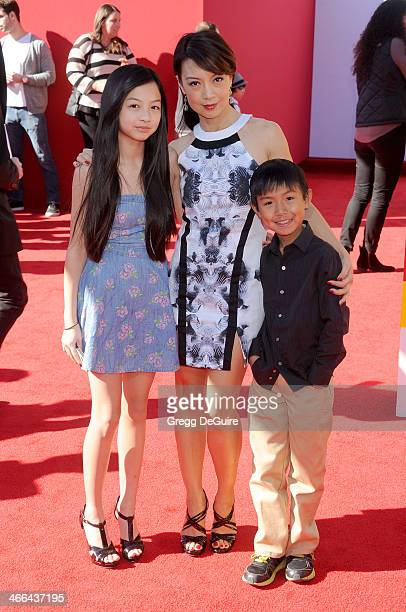 Actress MingNa and children Michaela Zee and Cooper Dominic Zee arrive at the Los Angeles premiere of 'The Lego Movie' at Regency Village Theatre on...