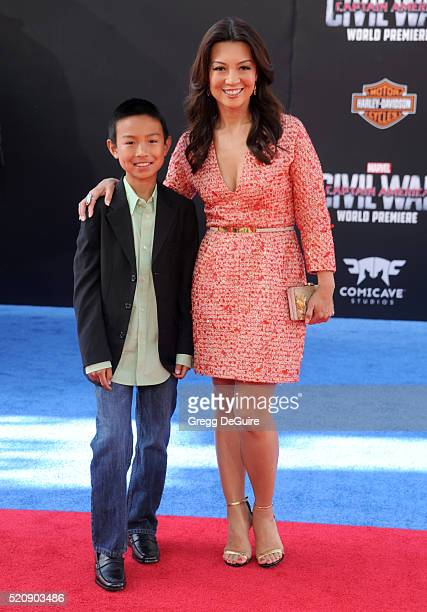 Actress MingNa Wen and Cooper Dominic Zee arrive at the premiere of Marvel's 'Captain America Civil War' on April 12 2016 in Hollywood California