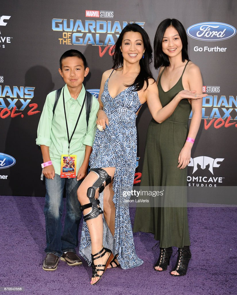 Actress Ming-Na Wen (C) and son Cooper Dominic Zee (L) and daughter Michaela Zee (R) attend the premiere of 'Guardians of the Galaxy Vol. 2' at Dolby Theatre on April 19, 2017 in Hollywood, California.