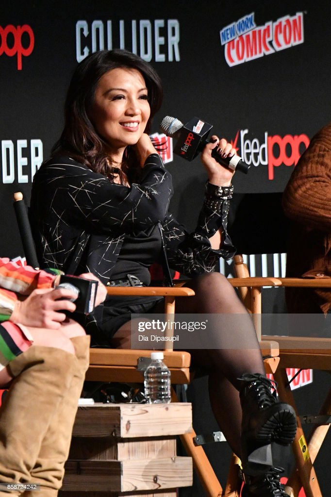 Actress Ming-Na Wen speaks at the Marvel's Agents of S.H.I.E.L.D. panel during 2017 New York Comic Con - Day 3 on October 7, 2017 in New York City.