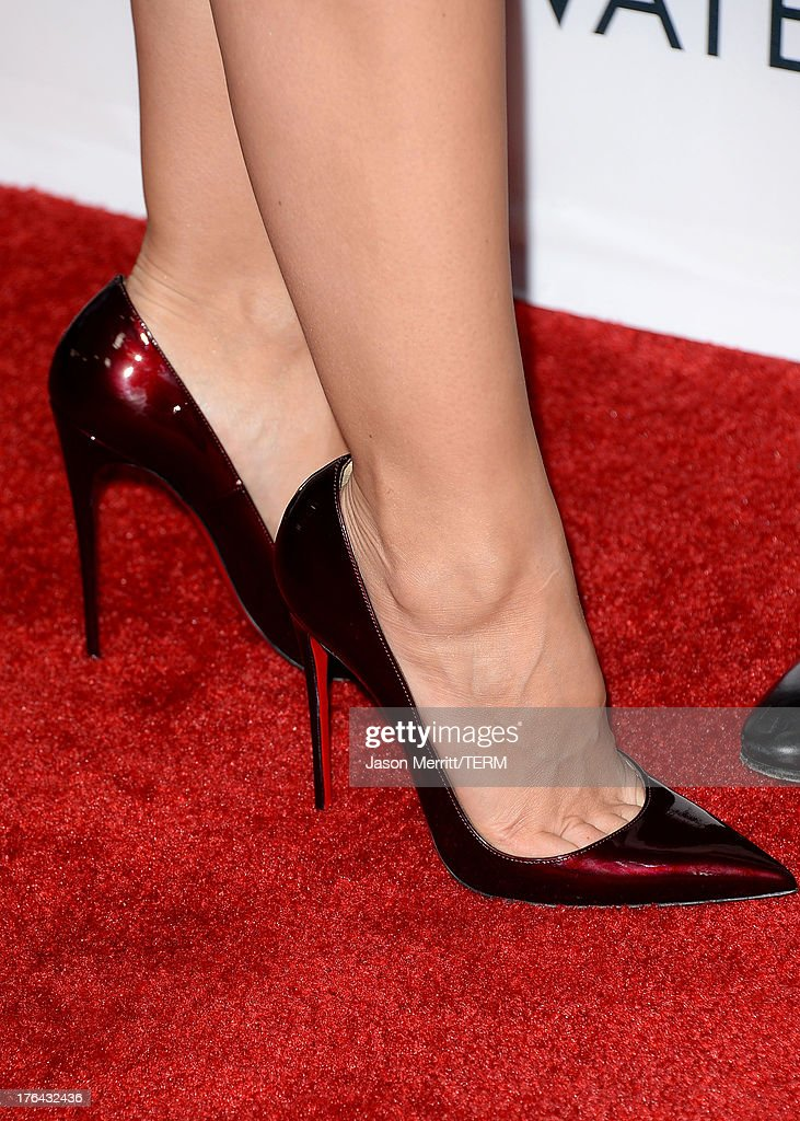 Actress Minka Kelly (shoe detail) arrives at the premiere of The Weinstein Company's 'Lee Daniels' The Butler' at Regal Cinemas L.A. Live on August 12, 2013 in Los Angeles, California.