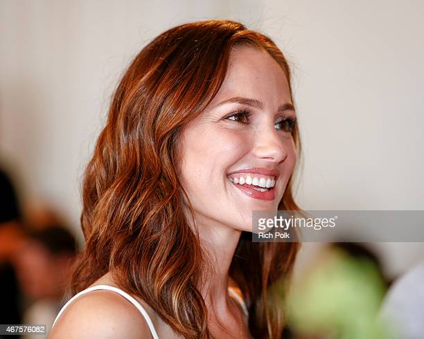 Actress Minka Kelly launches a bag line with fashionABLE to create jobs for women in Africa at Mondrian Los Angeles on March 25 2015 in West...