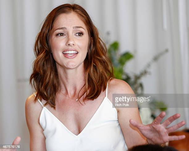 Actress Minka Kelly speaks at an event where she launches a bag line with fashionABLE to create jobs for women in Africa at Mondrian Los Angeles on...