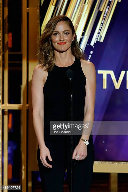 Actress Minka Kelly speaks onstage during the 2015 TV Land Awards at Saban Theatre on April 11 2015 in Beverly Hills California