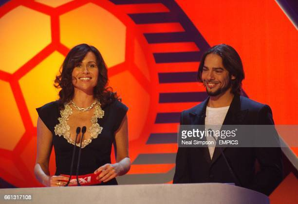 Actress Minnie Driver and flamenco dancer Joaquin Cortez on stage at the Mastercard FIFPro World XI Player Awards 2005 being recorded for Sky One