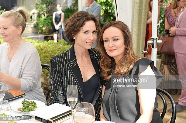 Actress Minnie Driver and Lucy Yeomans attend NETAPORTER Celebrates Women Behind The Lens at Chateau Marmont on February 26 2016 in Los Angeles...