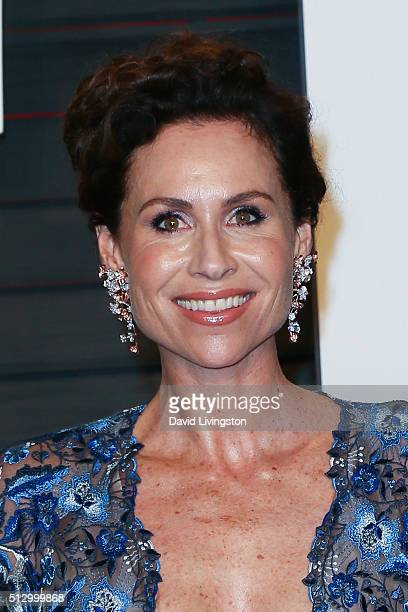 Actress Minnie Driver arrives at the 2016 Vanity Fair Oscar Party Hosted by Graydon Carter at the Wallis Annenberg Center for the Performing Arts on...