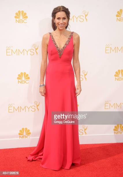 Actress Minnie Driver arrives at the 66th Annual Primetime Emmy Awards at Nokia Theatre LA Live on August 25 2014 in Los Angeles California
