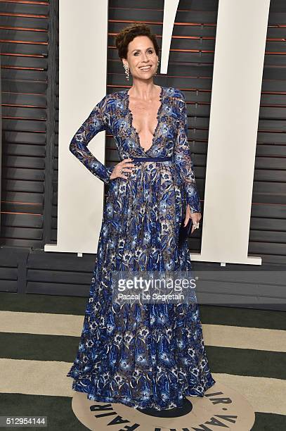 Actress Minnie Driver attends the 2016 Vanity Fair Oscar Party Hosted By Graydon Carter at the Wallis Annenberg Center for the Performing Arts on...