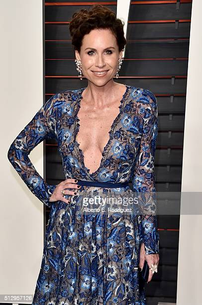 Actress Minnie Driver attends the 2016 Vanity Fair Oscar Party hosted By Graydon Carter at Wallis Annenberg Center for the Performing Arts on...
