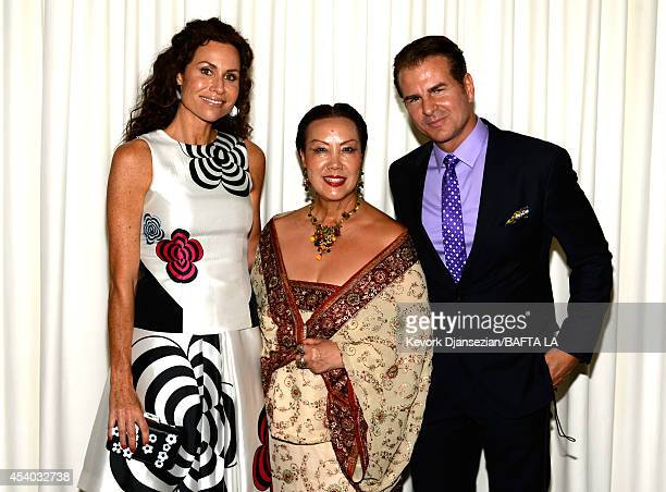 Actress Minnie Driver designer Sue Wong and actor Vincent De Paul attend the 2014 BAFTA Los Angeles TV Tea presented By BBC America And Jaguar at SLS...