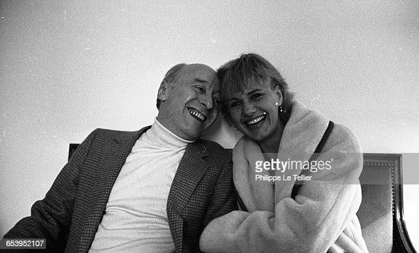 Actress MiouMiou and director Michel Audiard Paris France 02/1981