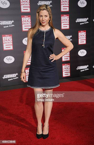 Actress Mira Sorvino arrives at the Los Angeles premiere of Disney's 'Big Hero 6' at the El Capitan Theatre on November 4 2014 in Hollywood California