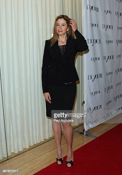 Actress Mira Sorvino attends the DuJour Magazine party celebrating the Great Performances Issue at Herringbone Mondrian LA on January 11 2014 in...