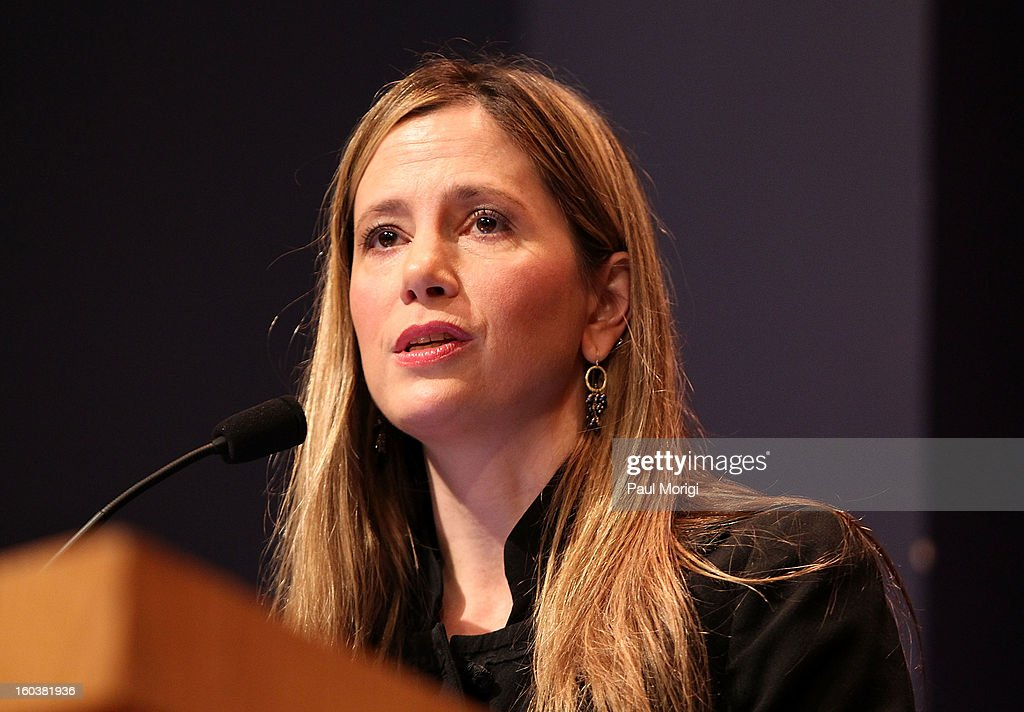 Actress <a gi-track='captionPersonalityLinkClicked' href=/galleries/search?phrase=Mira+Sorvino&family=editorial&specificpeople=203143 ng-click='$event.stopPropagation()'>Mira Sorvino</a>, United Nations Goodwill Ambassador on Human Trafficking, discusses immigration-related law enforcement challenges through the lens of anti-human trafficking at Georgetown University's Institute for the Study of International Migration forum on January 30, 2013 in Washington, DC.
