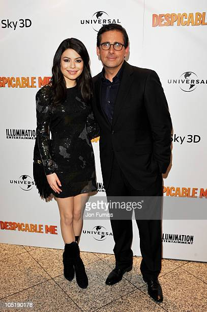 Actress Miranda Cosgrove and actor Steve Carell attend the 'Despicable Me' European premiere at Empire Leicester Square on October 11 2010 in London...