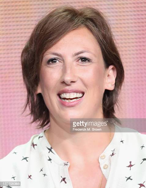 Actress Miranda Hart speaks onstage during the 'Call The Midwife' panel at the PBS portion of the 2013 Summer Television Critics Association tour at...