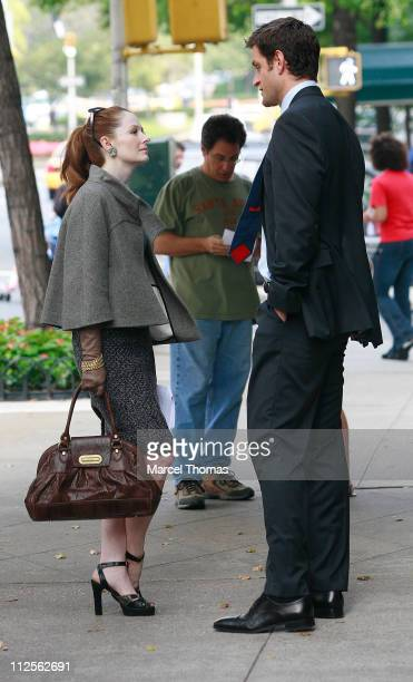 Actress Miranda Otto and actor Peter Hermann sighting filming a scene for the TV show ' Cashmere Mafia' on location on the upper Eastside October 18...