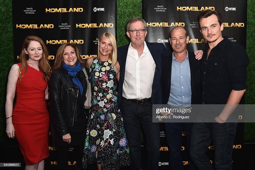 Actress Miranda Otto, executive producer Lesli Linka Glatter, actress Claire Danes, executive producer Alex Gansa, executive producer Howard Gordon and actor Ruppert Friend attend an Emmy For Your Consideration Event for Showtime's 'Homeland' at the Zanuck Theater at 20th Century Fox Lot on May 25, 2016 in Los Angeles, California.
