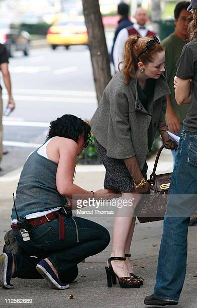 Actress Miranda Otto sighting filming a scene for the TV show ' Cashmere Mafia' on location on the upper Eastside October 18 2007 in New York City...