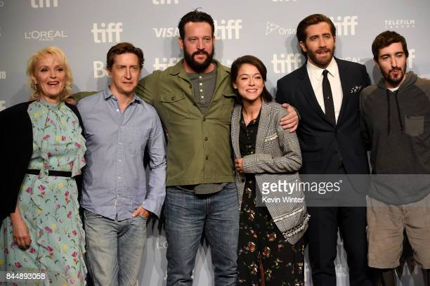Actress Miranda Richardson director David Gordon Green screenwriter John Pollono actors Tatiana Maslany Jake Gyllenhaal and Jeff Bauman attend the...