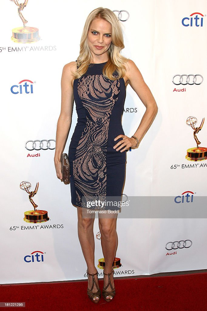 Actress <a gi-track='captionPersonalityLinkClicked' href=/galleries/search?phrase=Mircea+Monroe&family=editorial&specificpeople=3003566 ng-click='$event.stopPropagation()'>Mircea Monroe</a> attends the 65th Emmy Awards Writers Nominee reception held at the Leonard H. Goldenson Theatre on September 19, 2013 in North Hollywood, California.