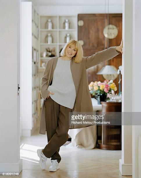 Actress Mireille Darc at Home