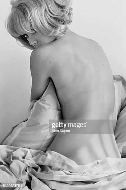 Actress Mireille Darc in Bed