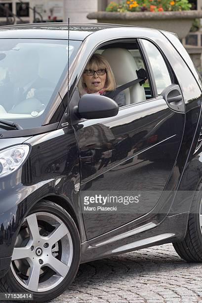Actress Mireille Darc is seen leaving JeanLouis Scherrer's funeral at Cimetiere du Pere Lachaise on June 26 2013 in Paris France
