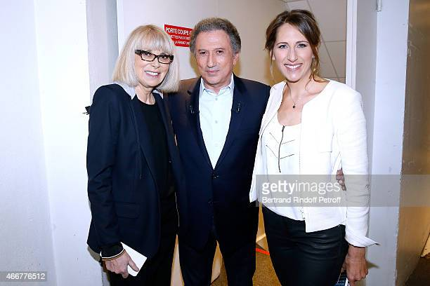 Actress Mireille Darc Presenter of the show Michel drucker and Yachtswoman Maud Fontenoy attend the 'Vivement Dimanche' French TV Show at Pavillon...