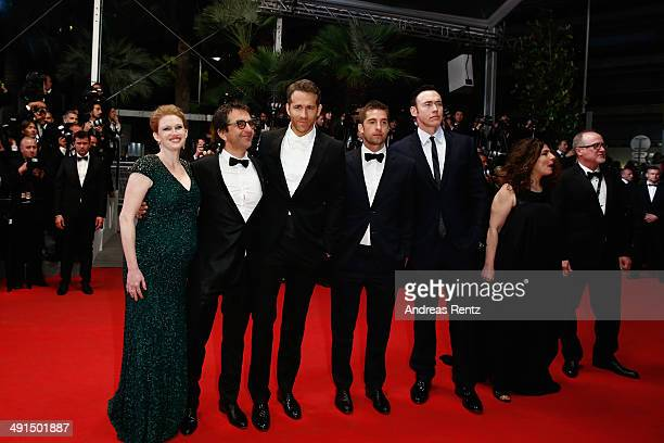 Actress Mireille Enos director Atom Egoyan actors Ryan Reynolds Scott Speedman and Kevin Durand attend the 'Captives' premiere during the 67th Annual...
