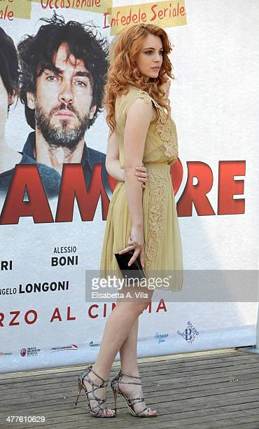 Actress Miriam Dalmazio attends 'Maldamore' photocall at Villa Borghese on March 10 2014 in Rome Italy