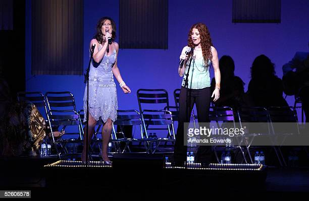 Actress Miriam Shar and singer Nina Storey perform a duet at 'What a Pair 3' at UCLA's Royce Hall on April 8 2005 in Westwood California Proceeds...