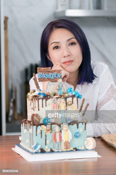 Actress Miriam Yeung poses during a commercial shoot for bank account product Citigold on July 4 2017 in Hong Kong China