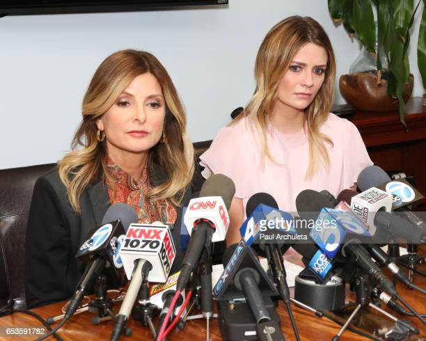 Actress Mischa Barton and her Attorney Lisa Bloom hold news conference on March 15 2017 in Woodland Hills California Barton and her attorney held the...