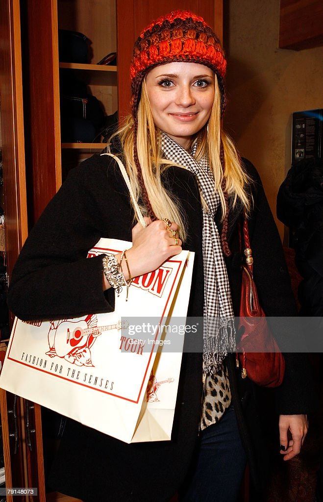 Actress Mischa Barton poses with the True Religion display at the Gibson Guitar celebrity hospitality lounge held at the Miners Club during the 2008 Sundance Film Festival on January 21, 2008 in Park City, Utah.